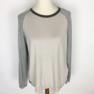 BASLER Wool Silk Blend Colorblock Crewneck Sweater